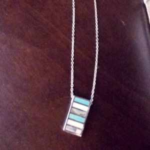 "16"" Diamond Cut Rope Chain w/Turquoise/Opal Charm"
